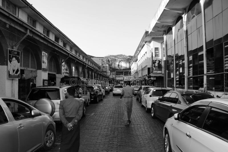 Black and white picture of general atmosphere in the Bogyoke Aung San Market or scott market, Yangon. Yangon, Myanmar, Feb 20, 2019 : Black and white picture of stock photos