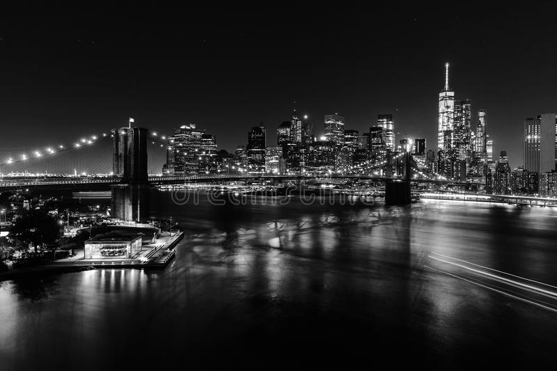 Black and white picture of Manhattan, NYC, at night. Black and white picture with an aerial view of Manhattan, NYC, at night royalty free stock photography
