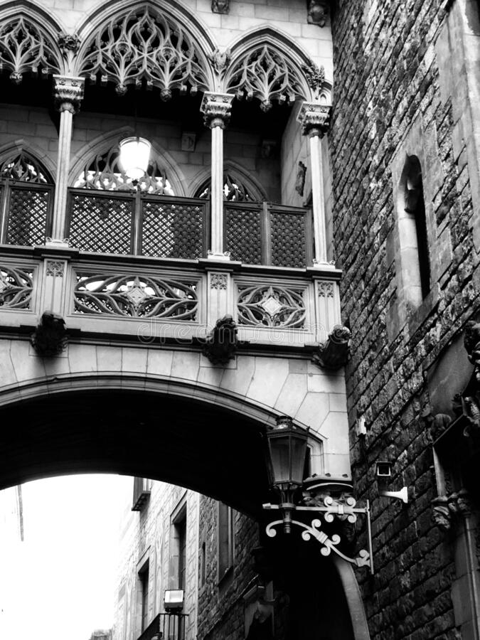 Old building of Barcelona city center. Black and white picture of an old building from Barcelona. City center royalty free stock photography