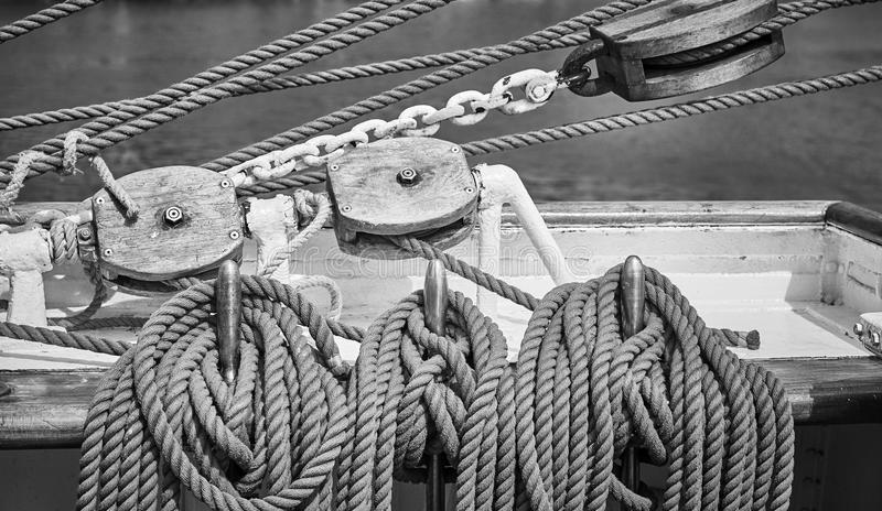 Black and white picture of old sailing boat rigging royalty free stock photo
