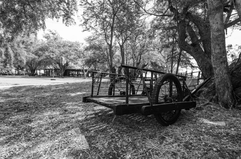 Black and white picture of two-wheeled cart in the field. In Thailand stock photography