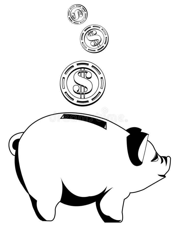 Black and white piggy bank with coins stock illustration