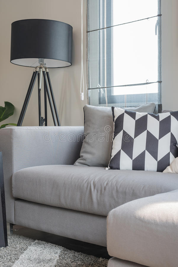 Black And White Pillows On Modern Grey Sofa Stock Photo Image Of Couch Interior 63927354
