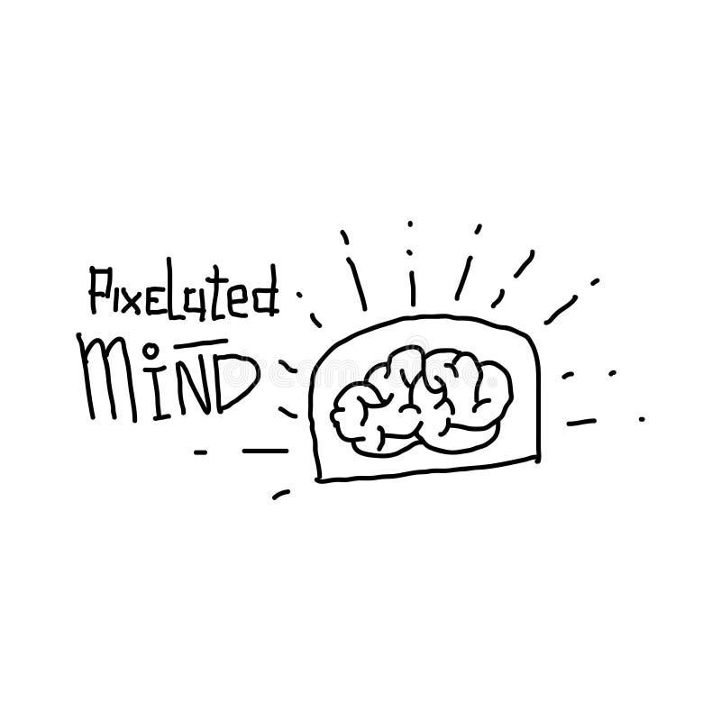 Pixelated Mind Grunge Icon Vector Illustration vector illustration