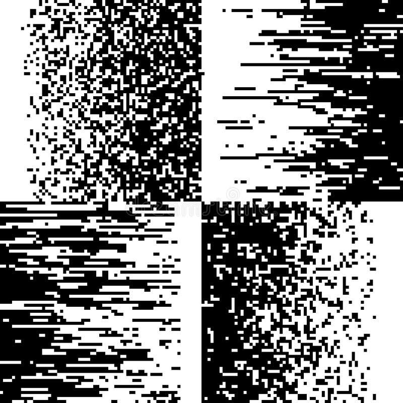 Black and white pixelation, pixel gradient mosaic, pixelated vector backgrounds stock illustration