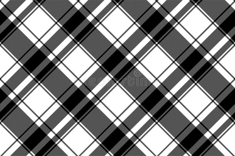 Black white plaid seamless pixel pattern vector illustration