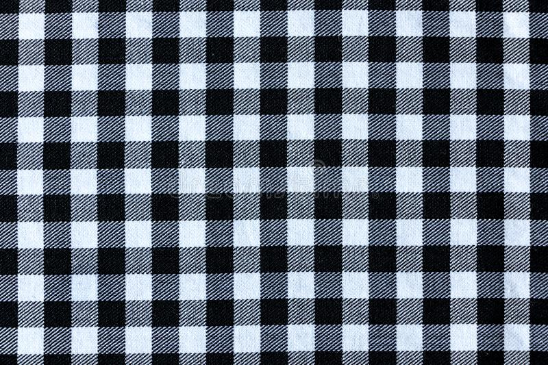Black and White Plaid Textile Fabric Texture royalty free stock photography