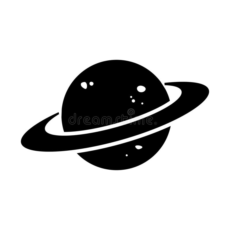 Black and white planet icon. Vector stock illustration