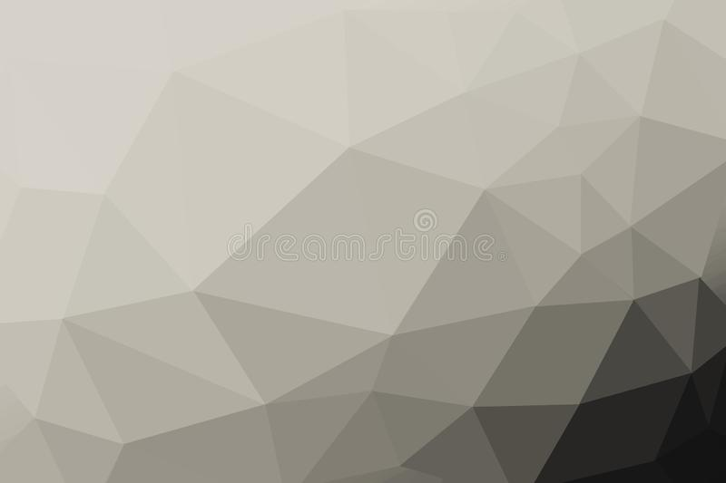 Black and white platinum gradient triangle background, abstract polygon pattern - photoshop illustration royalty free illustration