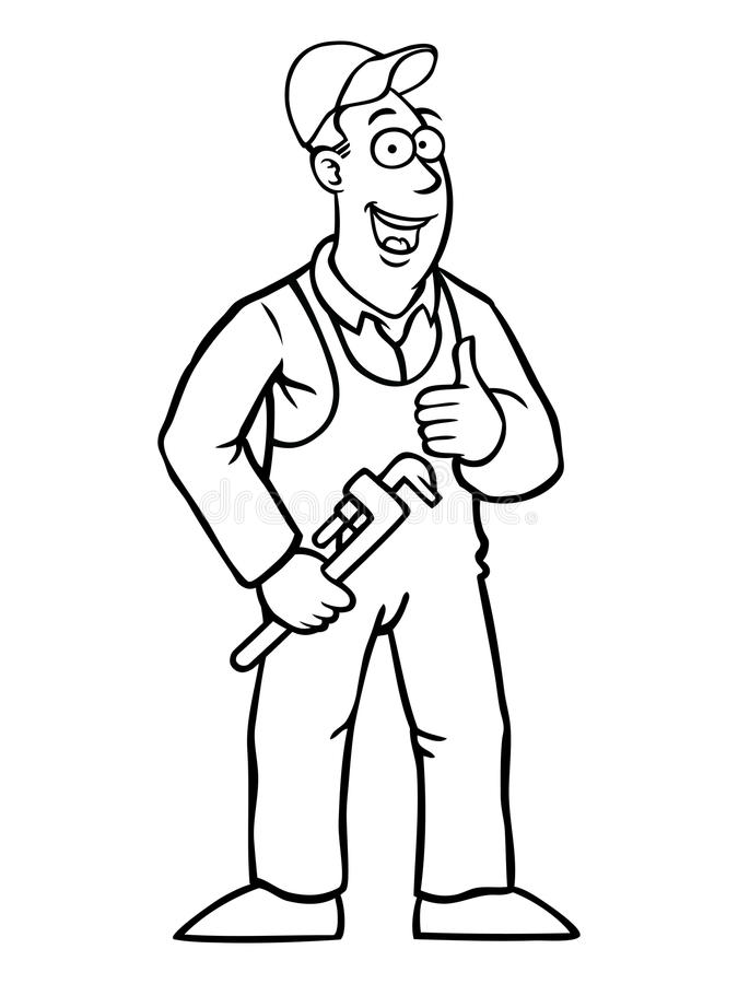Black and white plumber with thumbs up and wrench vector illustration