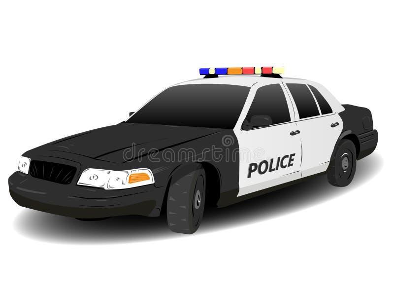 Black and White Police Squad Car. Illustration over white stock illustration