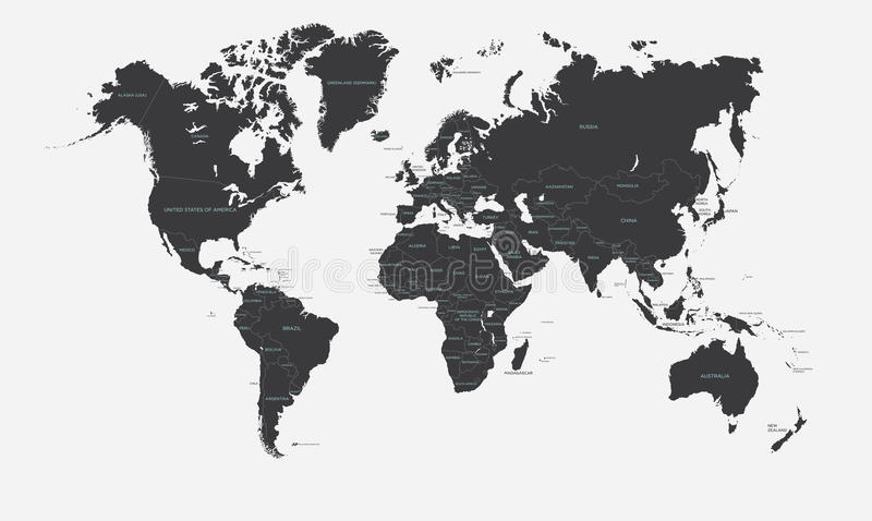 Black And White Political Map Of The World Vector Stock Vector - Large world map black and white