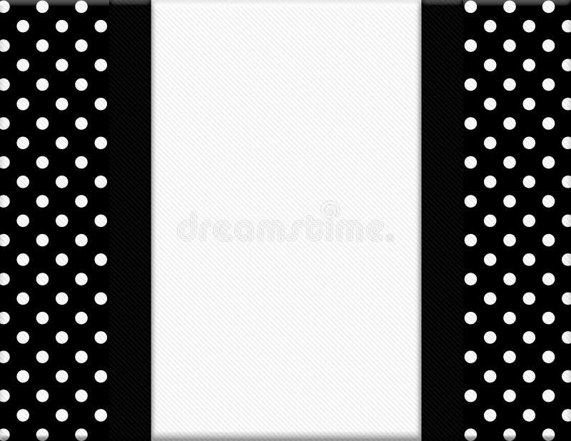 Black and White Polka Dot Frame with Ribbon Background royalty free illustration