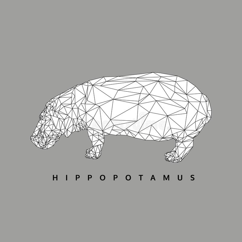 Black and white polygonal hippopotamus, polygon abstract geometric animal, hippo vector editable stroke, illustration vector illustration