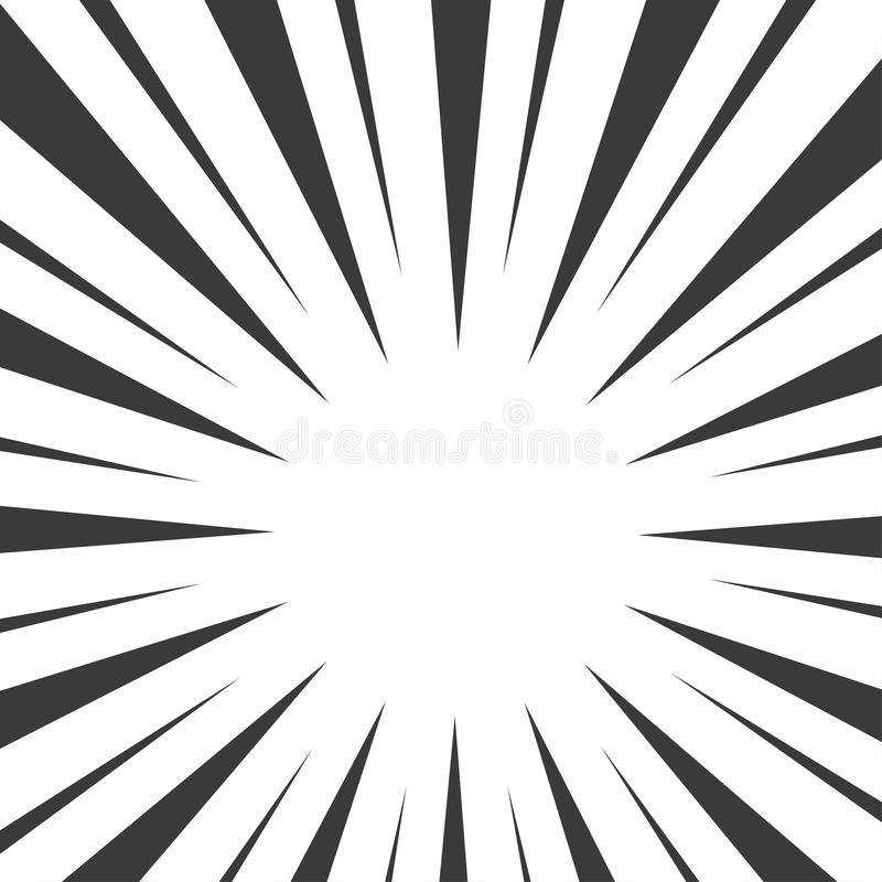 Black and white pop art background with sunbeams. Vector illustration vector illustration