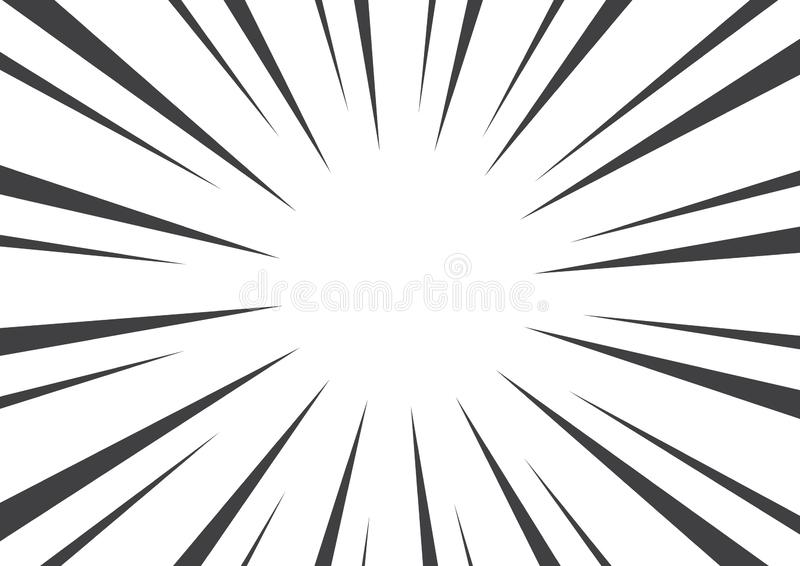 Black and white pop art background with sunbeams. Vector illustration royalty free illustration