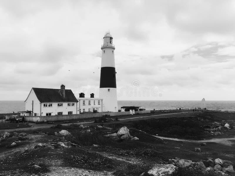 Black and white Portland bill lighthouse stock photos