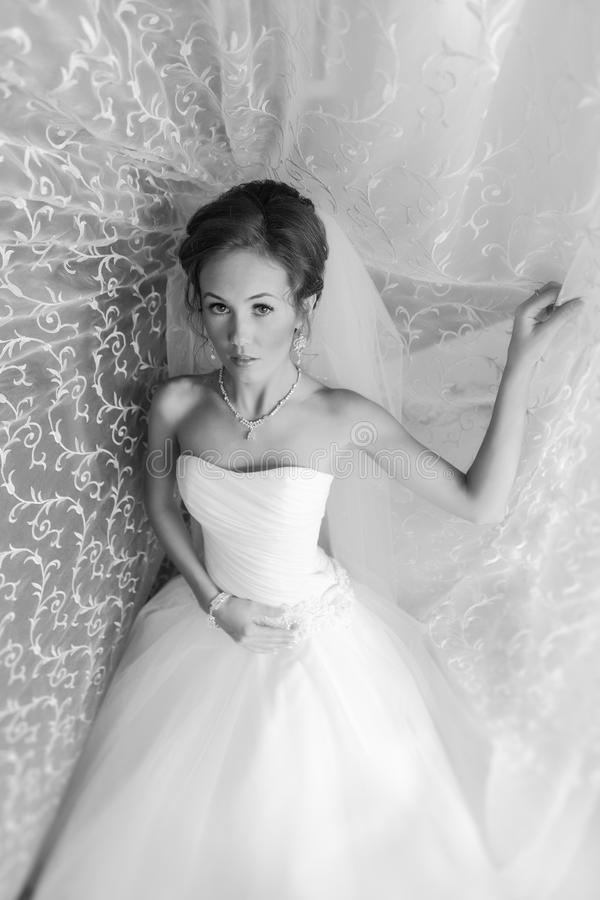 Black and white portrait of a Beautiful Bride Close up glowing from the sun light royalty free stock photos