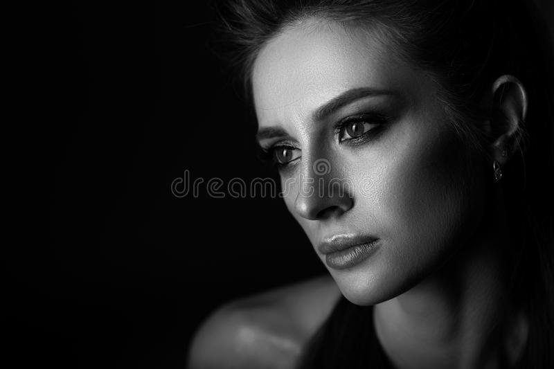 Black and white portrait of a beautiful woman. stock photography