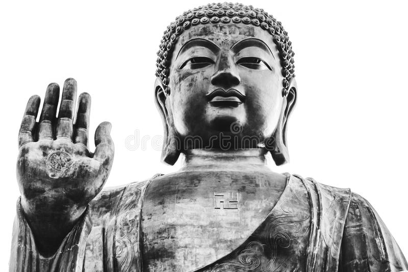 Black and white portrait of big buddha royalty free stock photos