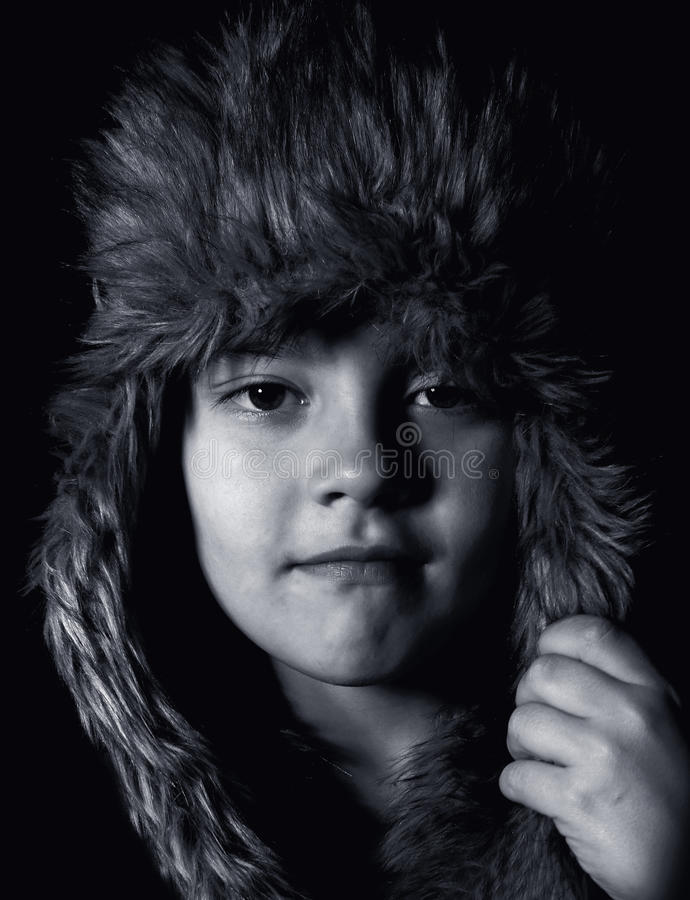 Black-and-white portrait of boy stock image