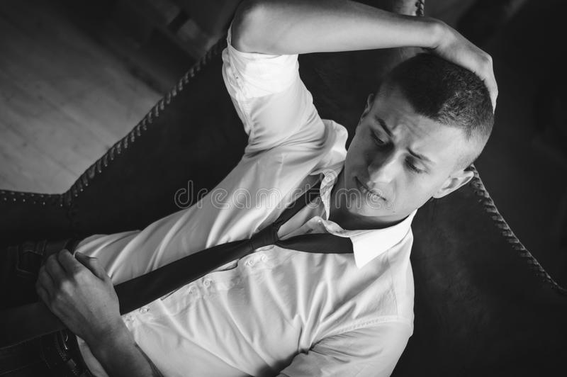 Black and white portrait of a business man. royalty free stock photography