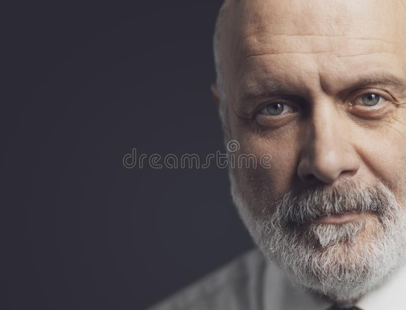 Black and white portrait of a confident mature businessman royalty free stock image