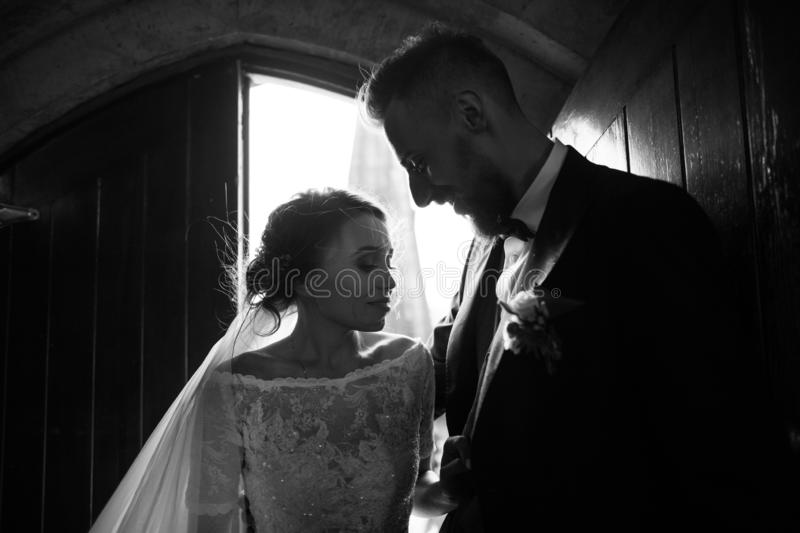 Black and white portrait of a couple in backlight royalty free stock images