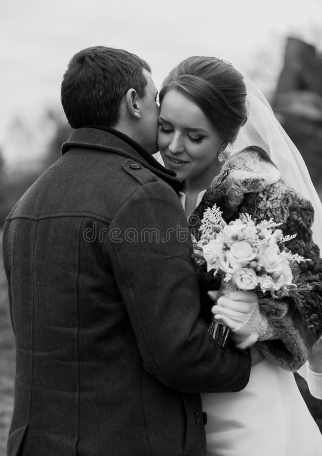 Black and white portrait of handsome groom kissing bride in cheek. Closeup black and white portrait of handsome groom kissing bride in cheek stock photo