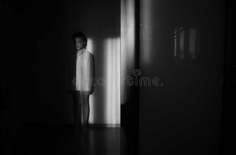 Black and white portrait in the interior royalty free stock images