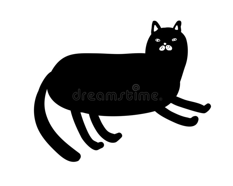 Black and white portrait of lazy cat on the floor. Cute home pet isolated on the white background royalty free illustration