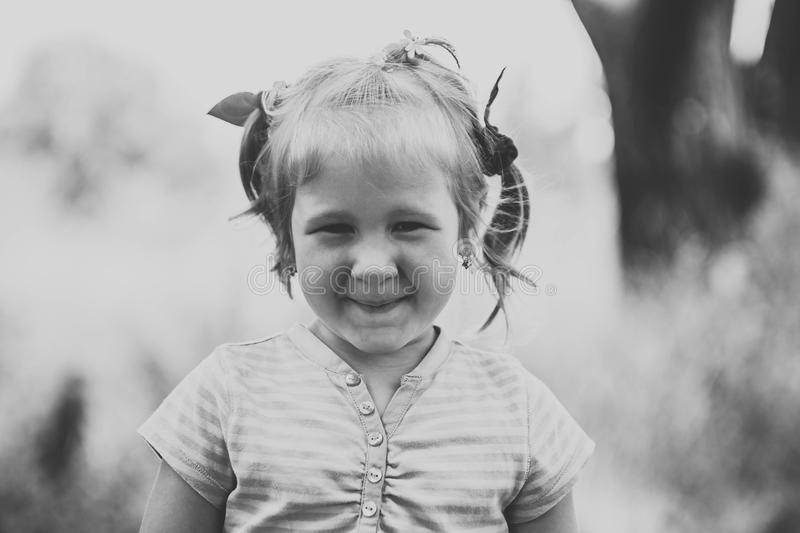 Black and white portrait of a little girl royalty free stock photos