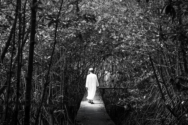 Black and white portrait of male muslim in traditional clothing walking in a mangrove forest. Fantasy of light, shadow and stock images