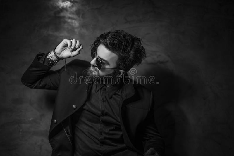 Black and white portrait of man royalty free stock photo