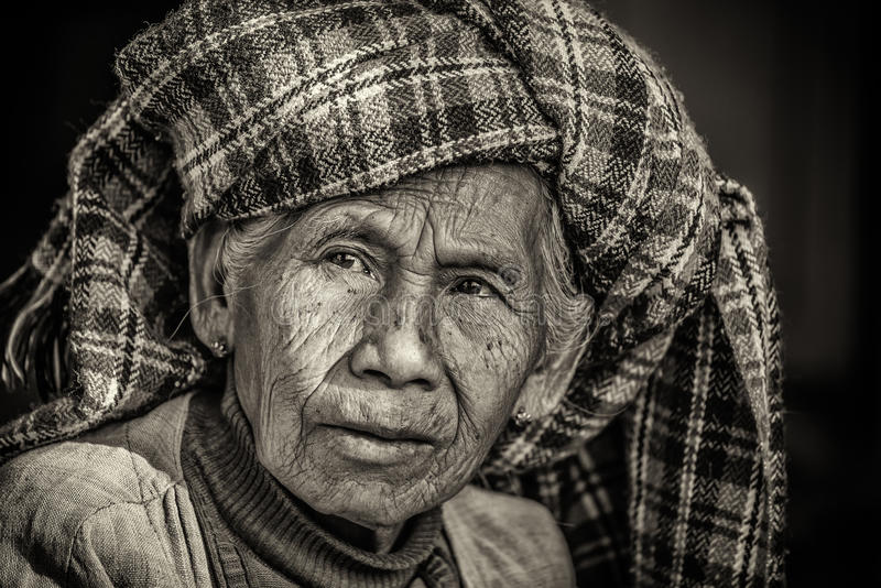 Black and white portrait of an old indigenous woman in Myanmar stock photos