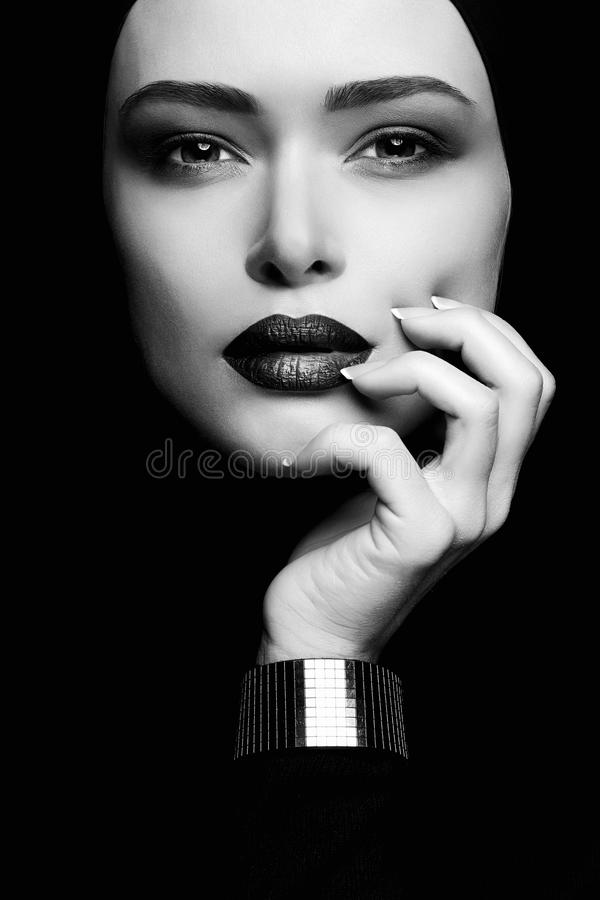 Download black and white portrait of woman in hijab stock image image of female