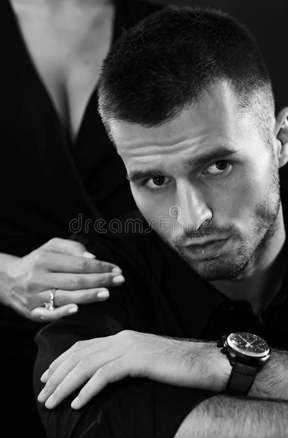 Black-and-white Portrait Of Young Man Stock Photos