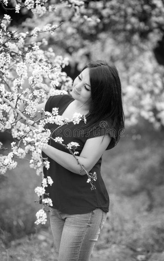 Black and white portrait of a young woman holding a brunch of blossoming plum tree in garden, happily smiling stock photos