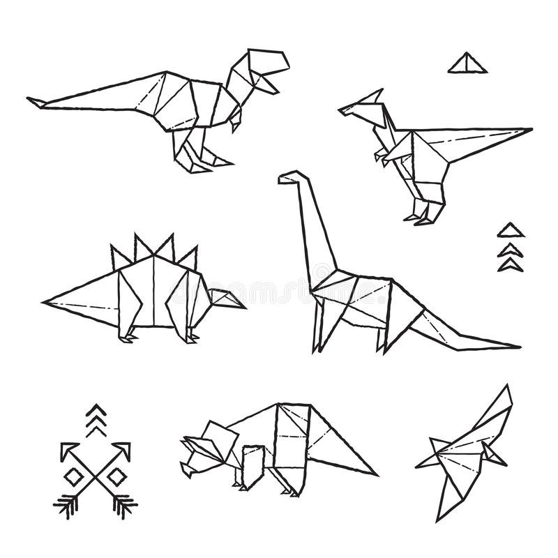 Ink origami tattoos dinosaurs set. Vector illustration. Black and white prehistoric tattoos. Dinosaurs origami set in contour vector illustration