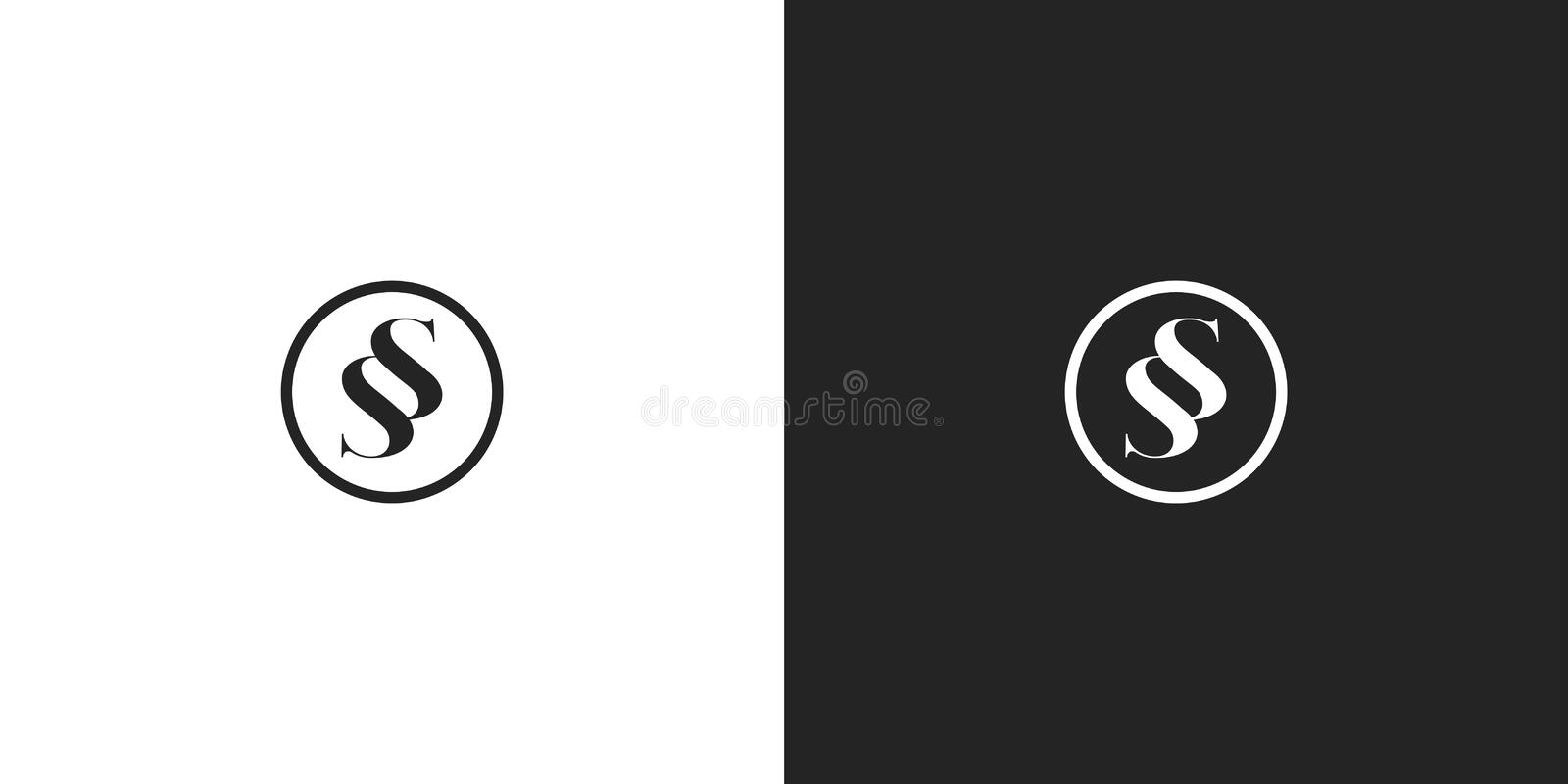 Black and white premium round SS monogram logo. Black and white SS monogram feminine round logo with a heart. Sans serif initials for luxury company business stock illustration