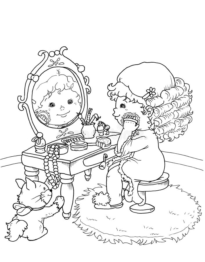 Download Black And White - Pretty Child Stock Illustration - Image: 12728967