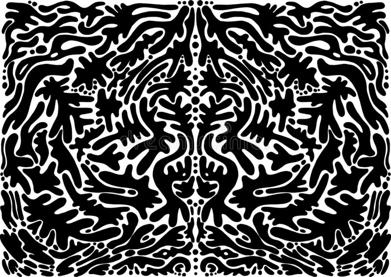 Black and white psychedelic abstract shamanic ornament. Fantasy bohemian abstract background. Vector illustration. Surreal. Doodle pattern. Mirror abstract royalty free illustration