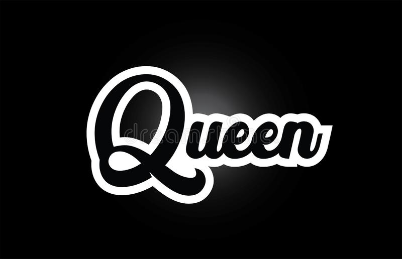 Black and white Queen hand written word text for typography logo icon design. Queen hand written word text for typography iocn design in black and white color stock illustration