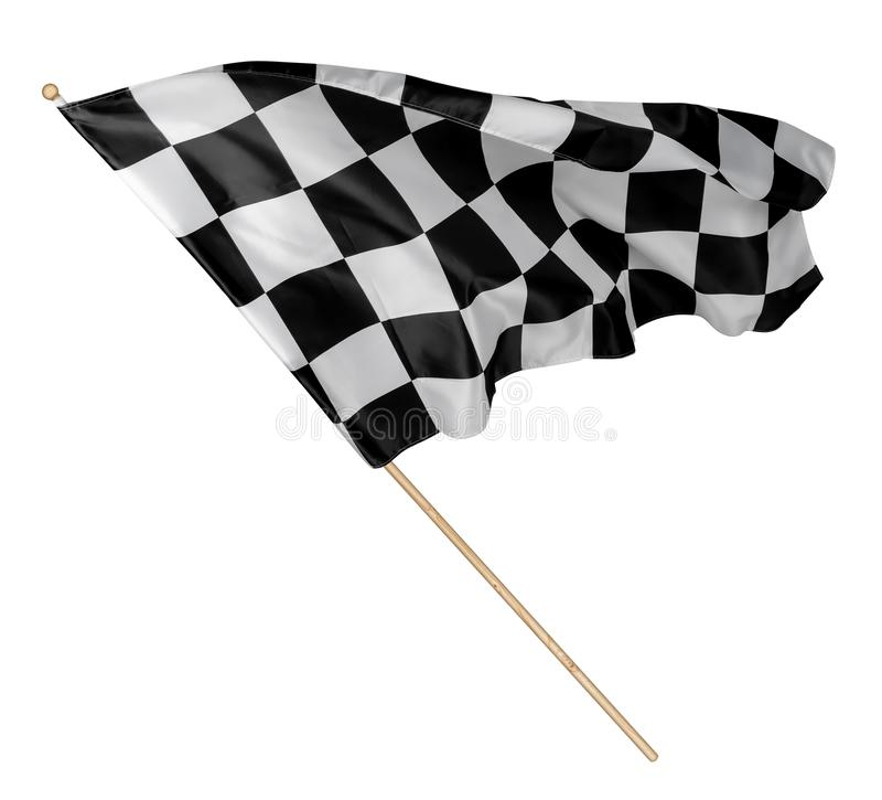 Black white race chequered or checkered flag with wooden stick isolated background. motorsport racing symbol concept. Black white race chequered or checkered royalty free stock photography