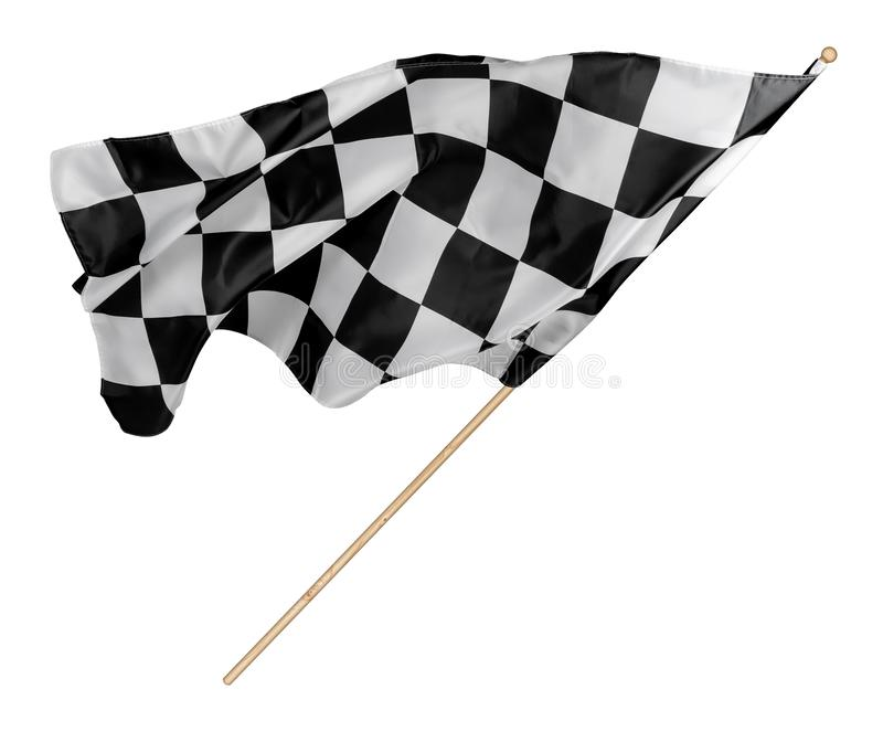 Black white race chequered or checkered flag with wooden stick isolated background. motorsport racing symbol concept royalty free stock image