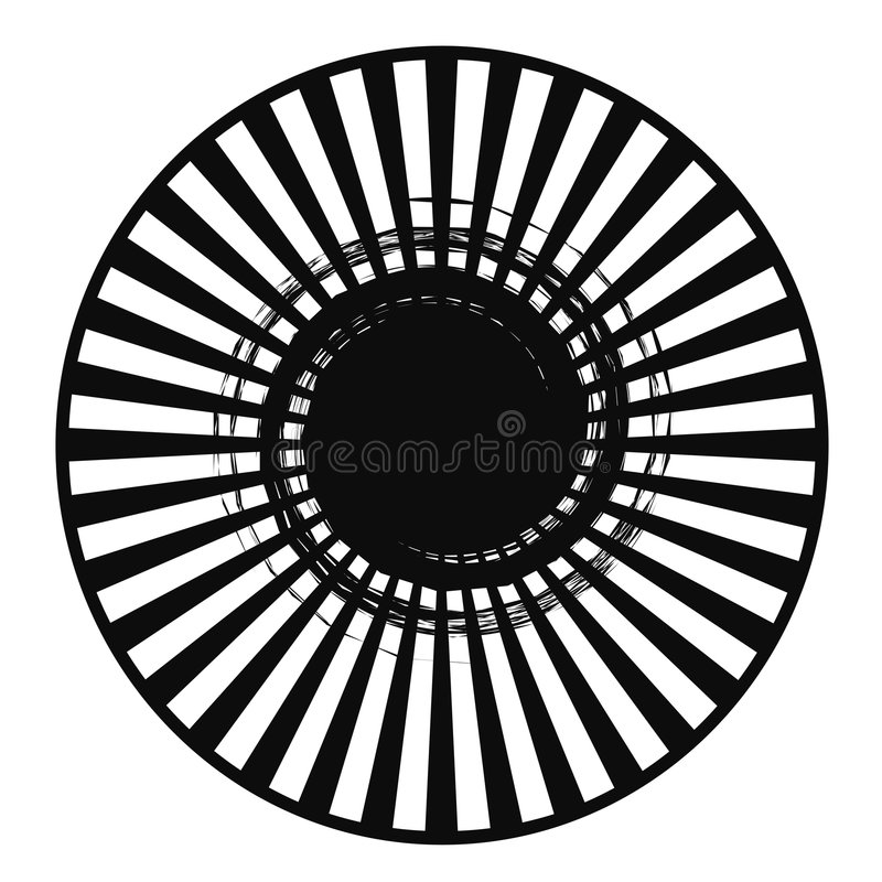 Black White Radial Abstract vector illustration