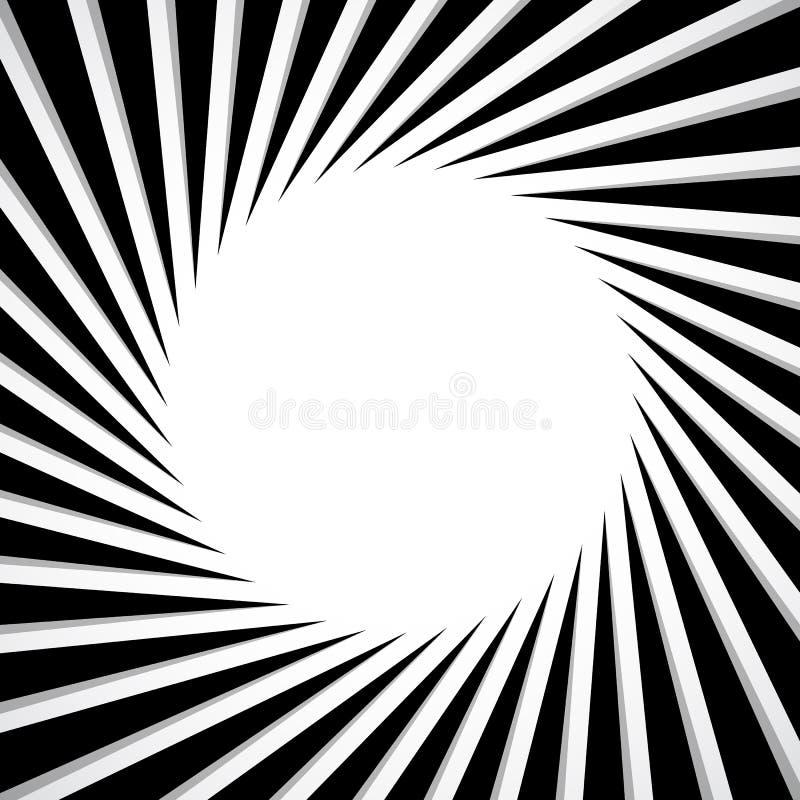 Black and white radial - radiating lines circular pattern. Royalty free vector illustration royalty free illustration