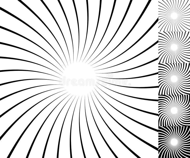 Black and white radial - radiating lines circular pattern. Royalty free vector illustration stock illustration
