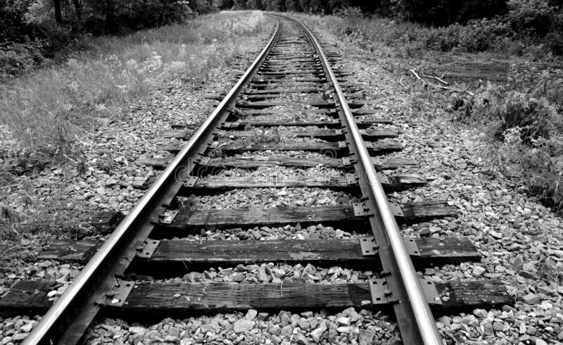 A black and white railroad to eternity. A Black-and-white railroad to eternity in the city of Minneapolis, Minnesota stock images