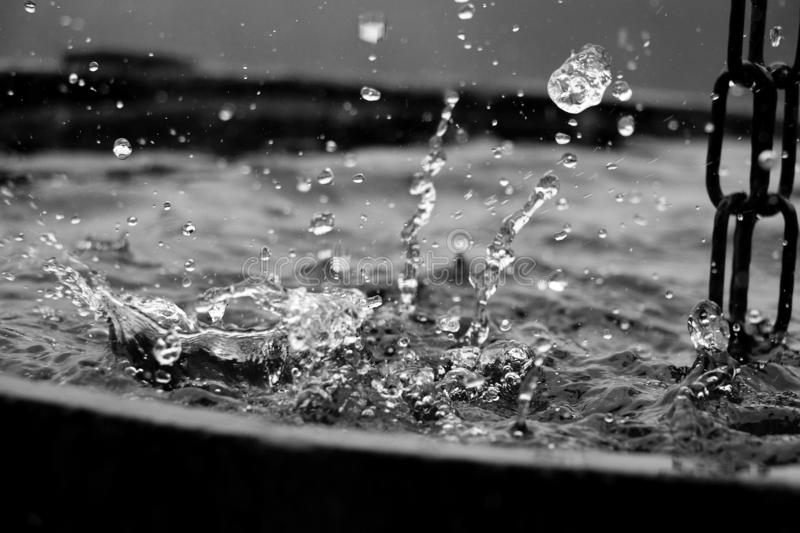 Black and white of rain is falling in a wooden barrel full of water in the garden. Black and white of rain is falling in a wooden barrel royalty free stock image